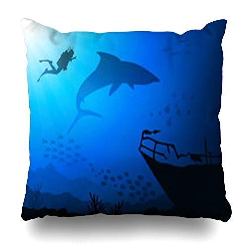 VivYES Throw Pillow Covers Scuba Blue Bottom Under Sea Wildlife Nature Aquatic Shark Undersea Angelfish Aquarium Natureundersea Zippered Pillowcases Square Size 20