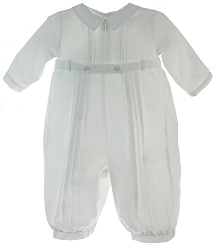 Feltman Brothers Christening - Feltman Brothers Boys White Christening Outfit Belted Romper Long Sleeves 3M