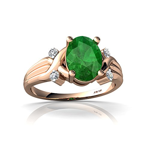 14kt Rose Gold Emerald and Diamond 8x6mm Oval Cross-Over Ring - Size 9