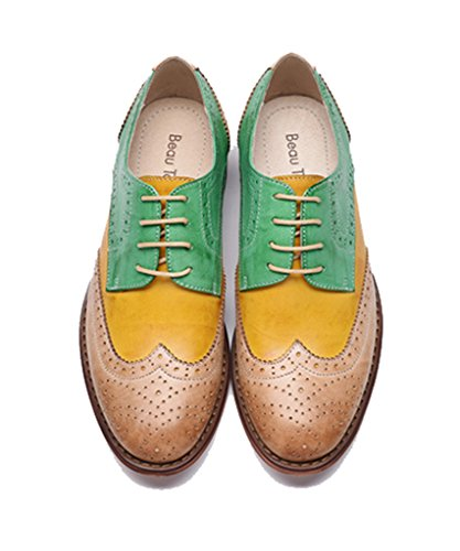 U-lite Mujeres Perforado Con Cordones Wingtip Multicolor Cuero Plano Oxfords Vintage Oxford Zapatos Verde Amarillo