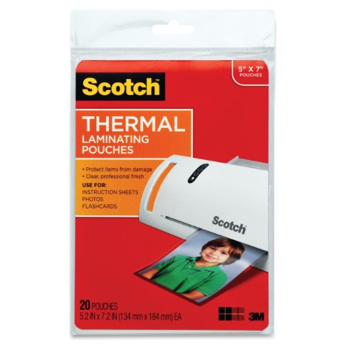 3M Corp Scotch Thermal Laminating Pouches, 5 x 7-Inches, 20-Pouches (TP5903-20),Clear (Scotch 3m Thermal Laminator compare prices)