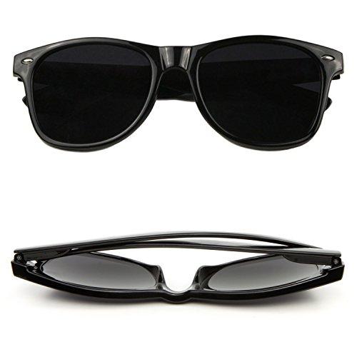 SUNGLASSES LUXE - Designer Vintage Solid Black Wayfarer Super Dark Spring - Super Cheap Ray Bans
