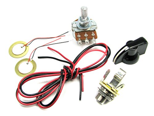 Do-it-Yourself Piezo Pickup Kit for Cigar Box Guitars - includes piezoelectric contact pickups, volume potentiometer and jack