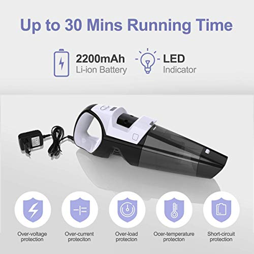 Handheld Vacuums Cleaner Cordless, Lightweight Hand Vac Ultra-Light with 7 Kpa Suction, Powerful 120W Wet & Dry Dustbuster Cordless Vacuum with Bag for Home Pet Hair and Car Dust Cleaning