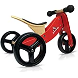 Kinderfeets Tiny Tot Red Wooden Balance Bike/Tricycle