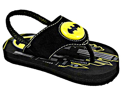 Favorite Characters Batman Flip Flop Lighted Sandals with Comfort Strap (Toddler/Little Kid) (Small M) Black