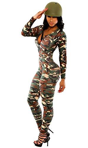 ThreeH Pantaloni lunghi maschile camouflage donna Deep-V Cappuccio tute Jumper C2315