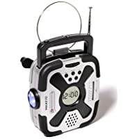 Hand Crank Emergency Flashlight, AM/FM and NOAA Weather Band Radio, Compass and Thermometer (No Batteries Required)