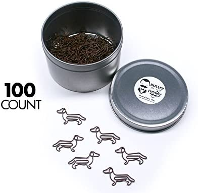 Butler in the Home 100 Count Ferret Shaped Paper Clips Great for Paper Clip Collectors or Office Gift Black Comes in Round Tin with Lid and Gift Box