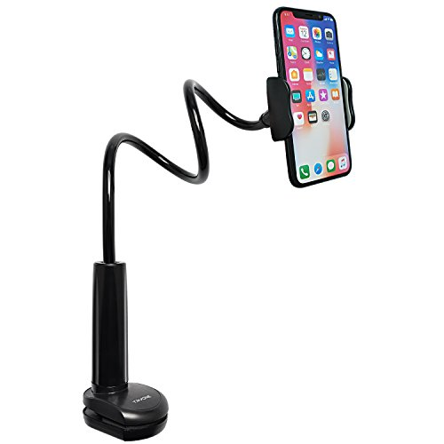 (Tryone Gooseneck Phone Holder, Flexible Long Arm Mount Stand Compatible with Smartphones, Max Width 3in, Overall Length 27.5in(Black))