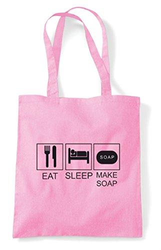 Make Bag Funny Hobby Pink Tiles Tote Shopper Eat Soap Light Activity Sleep 5wOxSnS8