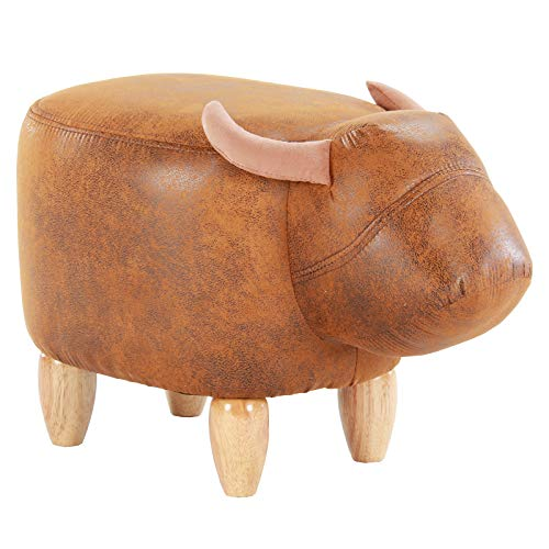 Cheap Artechworks Upholstered Ride-On Animal Ottoman Footrest Stool with Vivid Adorable Animal-Like Features,Perfect for Gift, Changing Shoes, Decoration, Toys, Without Storage(Brown Buffalo), Brown
