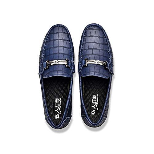 27 Diseño Confortables de Azul EU Tamaño y Cuero 42 Corte Gommino Suave único 5cm Zapatos Mocasín de Pisos Zgsjbmh Negocios tamaño Gommino Genuino Zapatos liviano 24 Mocasín de 0cm de bajo d8gFwA
