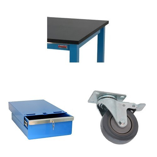 B00BJPQY46 BenchPro Blue Paint with Black Phenolic Resin Top Workstation, 6,000 lbs max. capacity, 24