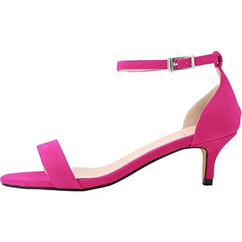 Talon Confort Mariage Bride wealsex Moyen 42 Soirée Chaussure Escarpins Boucle Bout Suédé Rose Cheville 35 Rouge Sandales Ouvert Femme B18nI6