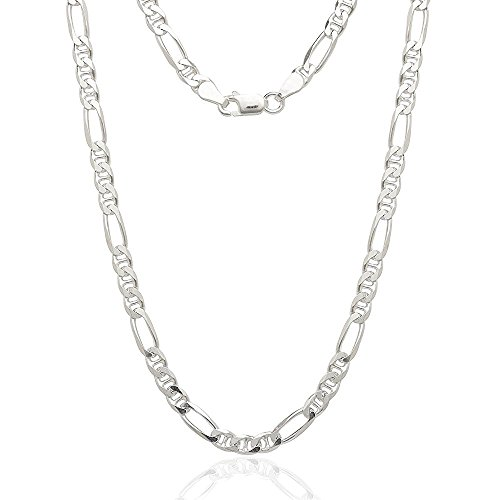"""Sterling Silver Italian 4.5mm Figarucci Figaro Mariner Anchor Link Solid .925 Necklace Chain 16"""" - 30"""" For Men & Women (20)"""