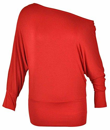 Purple Hanger - Damen Übergröße Schulterfreies Top Dehnbar Einfarbig Lange  Fledermausärmel - EU 44, Rot