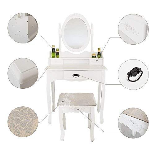 Joolihome Makeup Vanity White Table Set 3 Drawers Wood Bedroom Dressing Table Stool Set with Oval Mirror by Joolihome (Image #4)