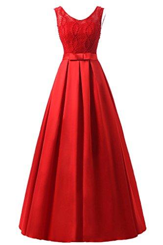 pizzo Prom vestito ivyd Party Festa satin di Donna vestito amp; Elegant ressing lunga Rosso line sera abito A BBgSxqYCw