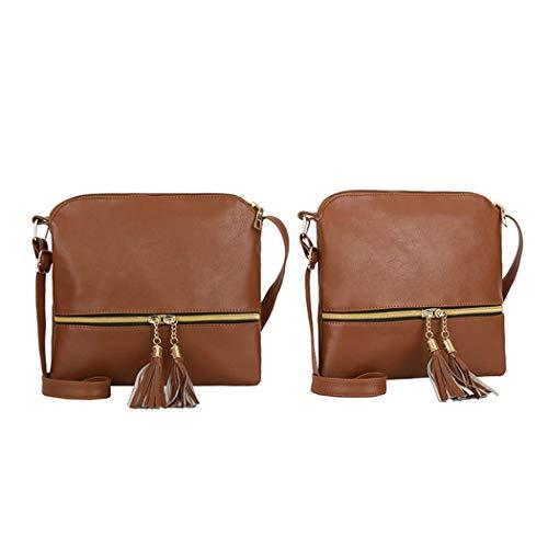 Bandoulière Main Sac Pour Sisaki Massif Femmes Pompon Sacs Vintage Style Portés Brown À pZSZnxEtg