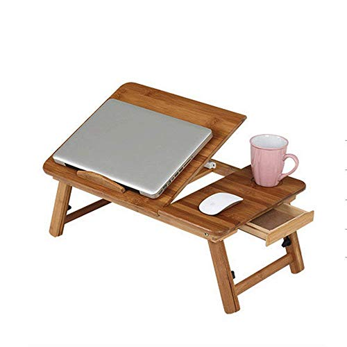 MKKM Lazy Table-Folding Table Portátil de bambú portátil Plegable Notebook Desk Mesa de Altura Ajustable Table Table Table con cajón 55 * 35 * 22.5~31Cm Ahorre Espacio