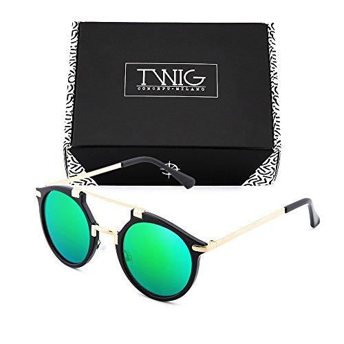 TWIG Gafas sol espejo Verde redondo mujer ROTHKO hombre de Negro BrBEqw7