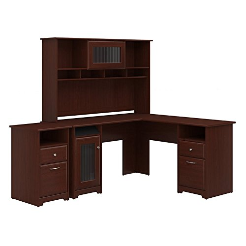 Bush Furniture Cabot L Shaped Desk with Hutch and 2 Drawer File Cabinet in Harvest (2 Drawer Office Hutch)