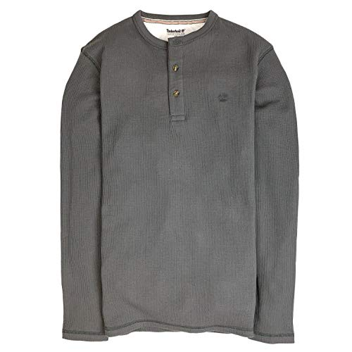 (Timberland Men's Long Sleeve Crew Neck Waffle Henley Shirt (Dark Grey, Medium))