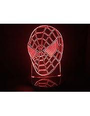 Luminária Led 3d Cabeça Homem Aranha Acrílico Abajur