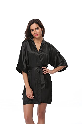 (Vogue Bridal Women's Solid Color Short Kimono Robe, Black M)