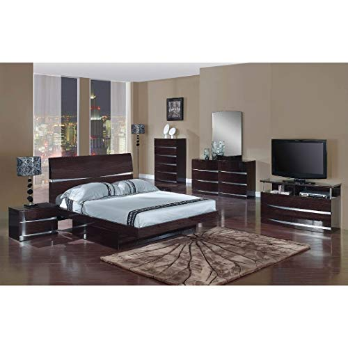 Overstock Wynn Contemporary Brown and Metal Accent Bed King