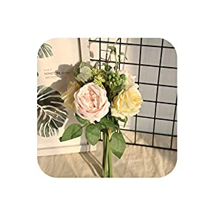 Artificial Bouquet Rose Peony Bridal Wedding Ceremony Party Fake Flowers Home Garden Decoration Fake Rose DIY Decoration,B 99