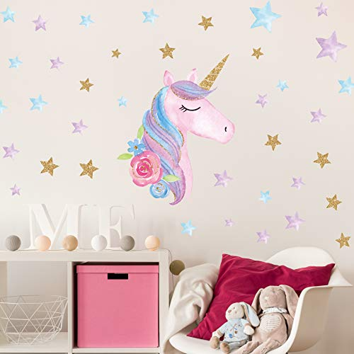 Unicorn Wall Decals,Unicorn Wall Sticker Decor with Heart Flower Birthday Christmas Gifts for Boys Girls Kids Bedroom Decor Nursery Room Home Decor (A-Unicorn) (B-Unicorn)