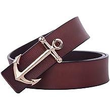 Matthew Men's Nautical Style Anchor Buckle Leather Belt