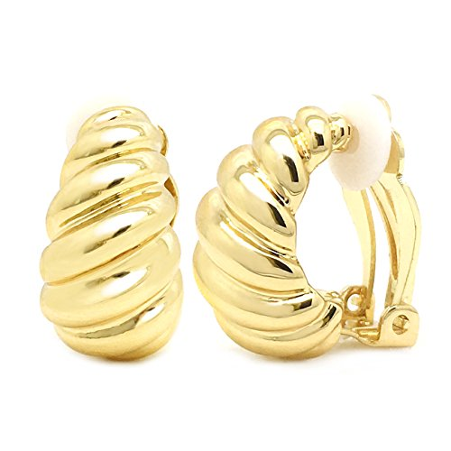 Clip on Earrings Shrimp Style Polished Gold Plated Classic Women Fashion (Shrimp Style Ring)