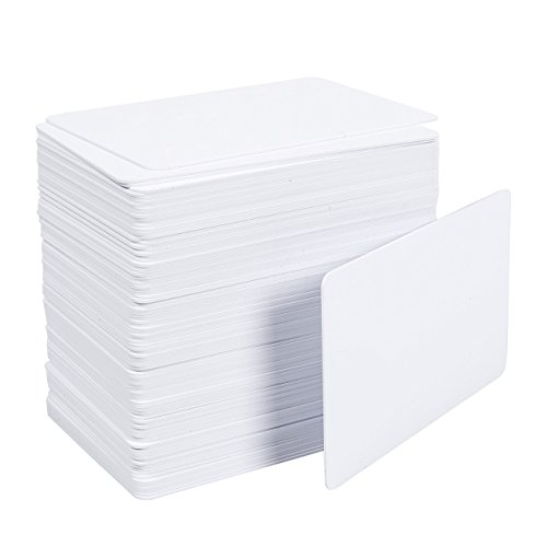 100 Pack CR80 PVC Cards - CR80 Cards - For Inkjet Printers, Blank, (Blank White Pvc Cards)