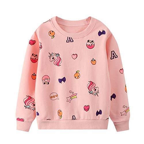 Meisjes Unicorn Sweatshirt Paard Kinderen Sweatshirt Regenboog Pullover Trui katoen Lange Mouwenshirt Roze 2 3 4 5 6 7…