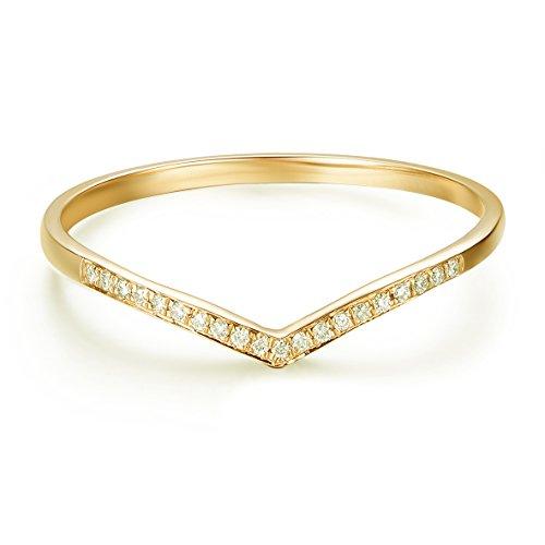 Hafeez Center 14K Gold Round Diamond Wedding Band V Shape Curved Wedding Ring Band (Yellow-Gold, 10.5)