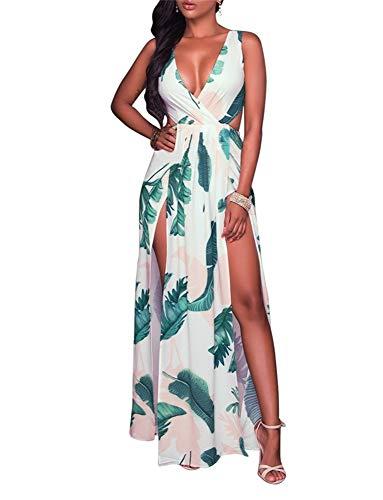 (Sexy Dress for Women V Neck Sleeveless High Split Long Dress Floral Print Beach Maxi Dress)