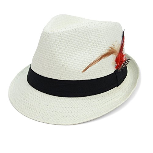 WESTEND Unisex Trilby Summer Fedora Hat with Feather