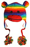 Animal World - Rainbow Stripe Sock Monkey Peruvian Knit Hat Multi