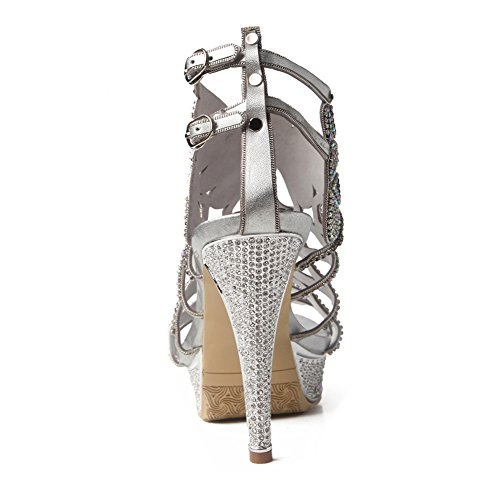 Prom Party Diamante Low Mujeres Sandalias Silver Prom Zapatos Tamaño Señoras Mid Strappy Heel High 84Yw04q