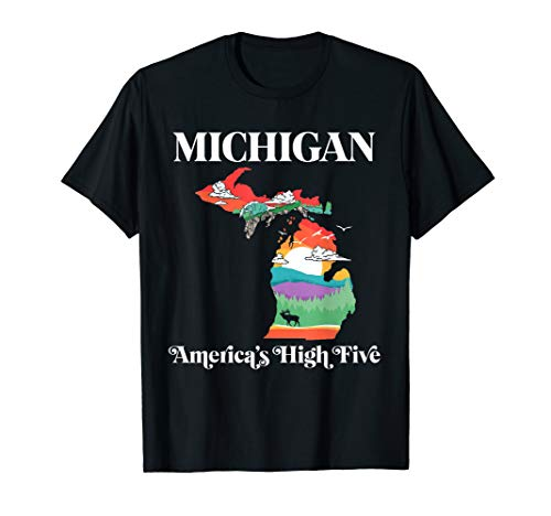 Michigan Outside - America's High Five Vintage Nature   T-Shirt
