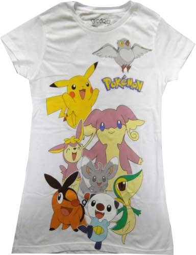 Price comparison product image Pokemon Group Characters Juniors White T-shirt (XL)