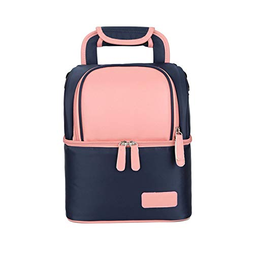 Double Layer Portable Lunch Bag Food Cooler Picnic Bags for Women Thermal Lunch Box,pink