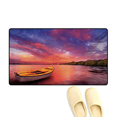 Bath Mat,Enchanted Coast with a Rowboat Under Magical Hazy Sky Peaceful Nature Image,Customize Door Mats for Home Mat,Pink and ()