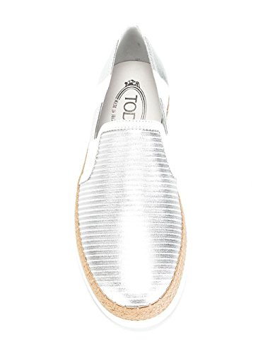 Silver Tod's Sneakers Slip On Xxw0tv0j970gelb001 Leather Women's Eqaz7qS