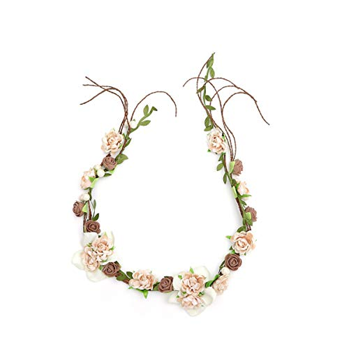 Newly arrived Rattan Flower Vine Crown Tiaras Necklace Belt Party Decoration (Brown) ()