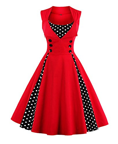 Killreal Women's Casual Cocktail Vintage Style Polka Dot Printed Rockabilly Dress for Christmas Holiday Red -
