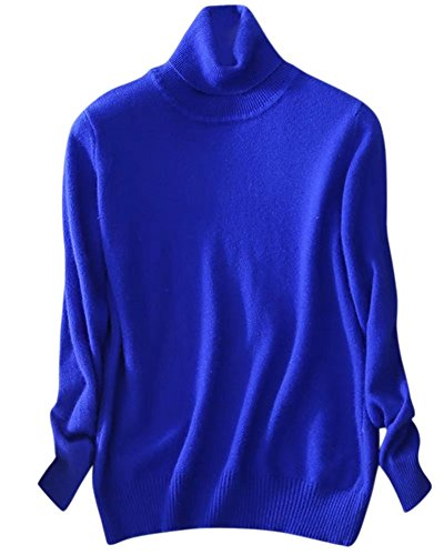 SANGTREE Women's Cashmere Turtleneck Long Sleeves Lightweight Pullover Sweater, Royal Blue, US XL(16-18)